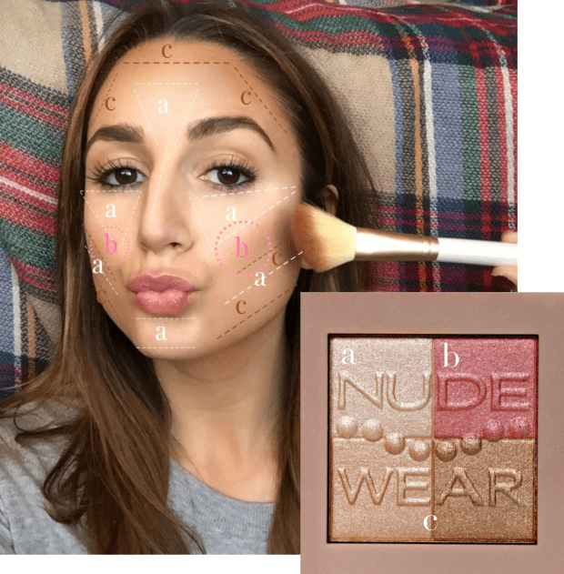 Make a kissy/duck face to make your cheekbones pop. Blush should go on the apple of your cheek, while highlighter should go above, on your cheekbone.
