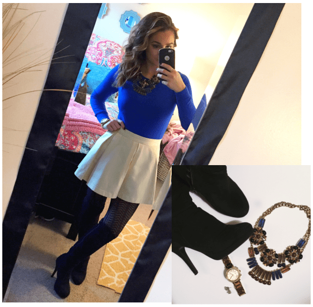 Sweater: Target // Skirt: Forever 21 // Tights: ? // Boots: Forever 21 // Necklace: Best Of Everything // Watch: Michael Kors // Studs: Ross Simons