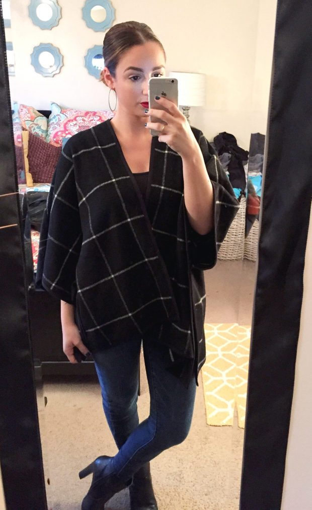 Poncho: Old Navy // Black Tank: Target // Jeans: American Eagle // Booties: Prima Donna // Hoops: