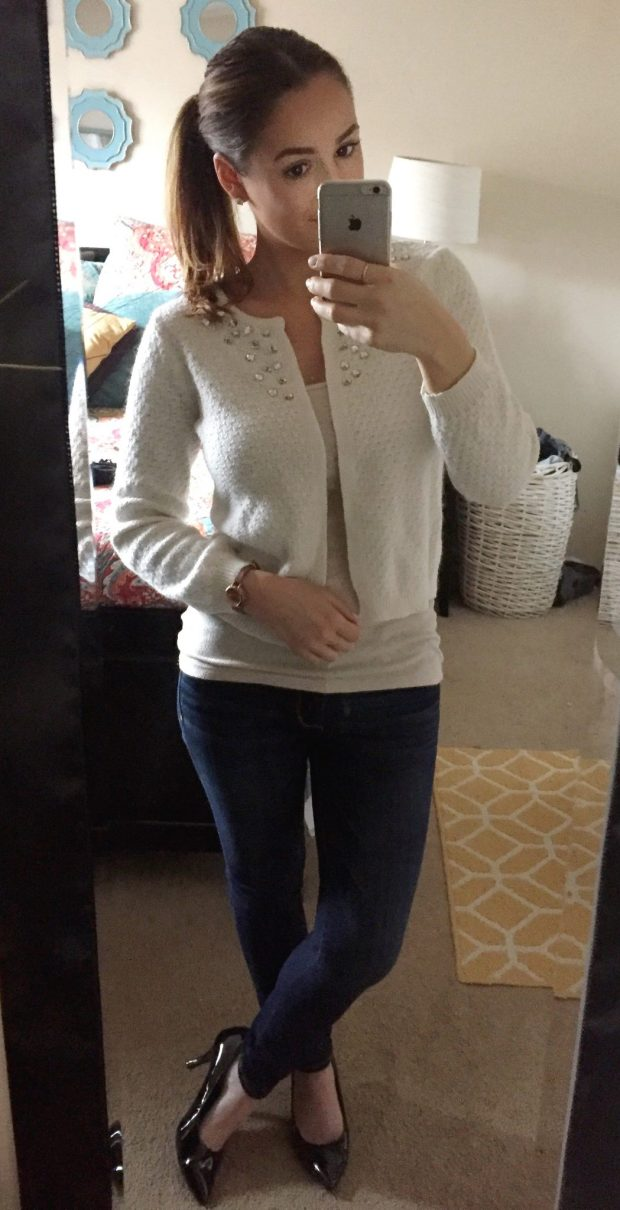 Tank: Target // Cropped Sweater: Old Navy // Jeans: Abercrombie + Fitch // Heels: Comfort Plus [Payless] // Studs: Ross Simons // Watch: Kohls