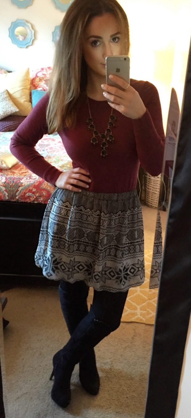 Top: Target // Skirt: Bobs // Tights: NoNonsense // Boots: Forever 21 // Necklace: Forever 21