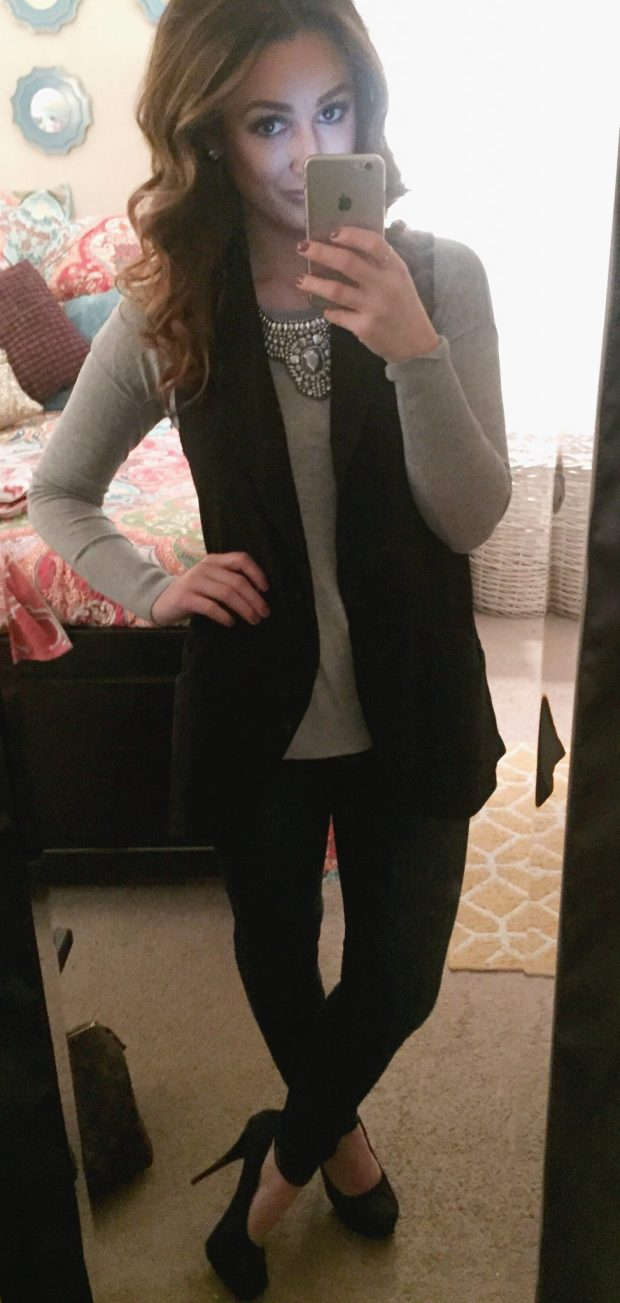 Sweater: Marshalls // Vest: Marshalls // Jeans: Abercrombie + Fitch // Hells: Candies [Kohls] // Necklace: Forever 21 //