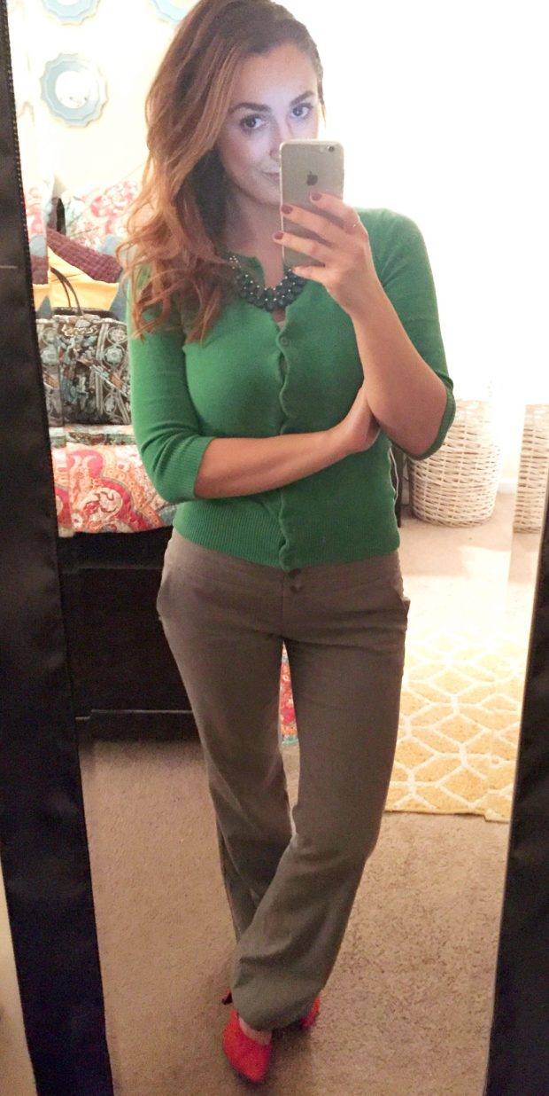 Sweater: Nordstrom Rack // Slacks: The Limited // Heels: Comfort Plus [Payless] // Necklace: Consignment // Studs: Ross Simons