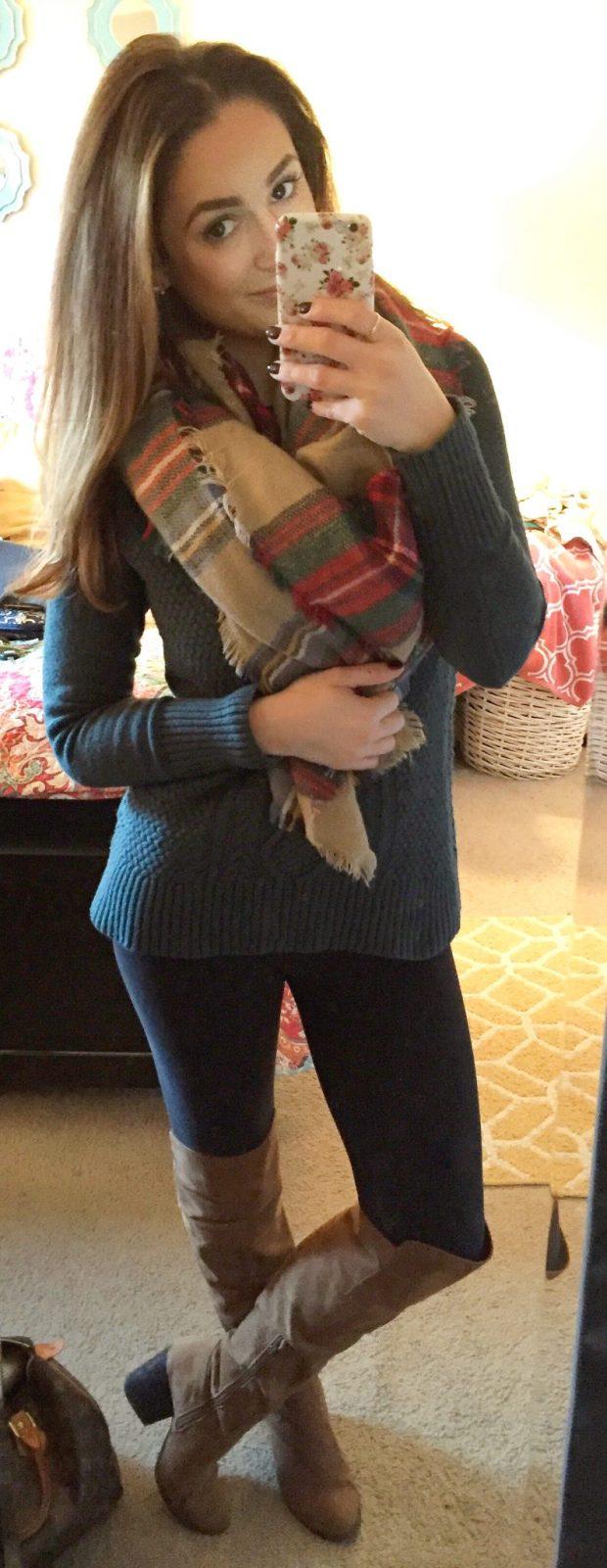 Sweater: Target // Leggings: Walmart // Boots: Forever 21 // Blanket Scarf: Original - KnitPopSop
