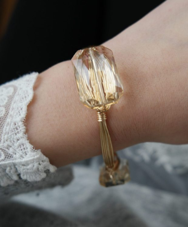 gold wire crystal bangle demure