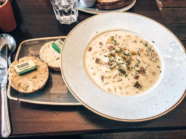 Seafood chowder and soda bread from Corrib Tea Room