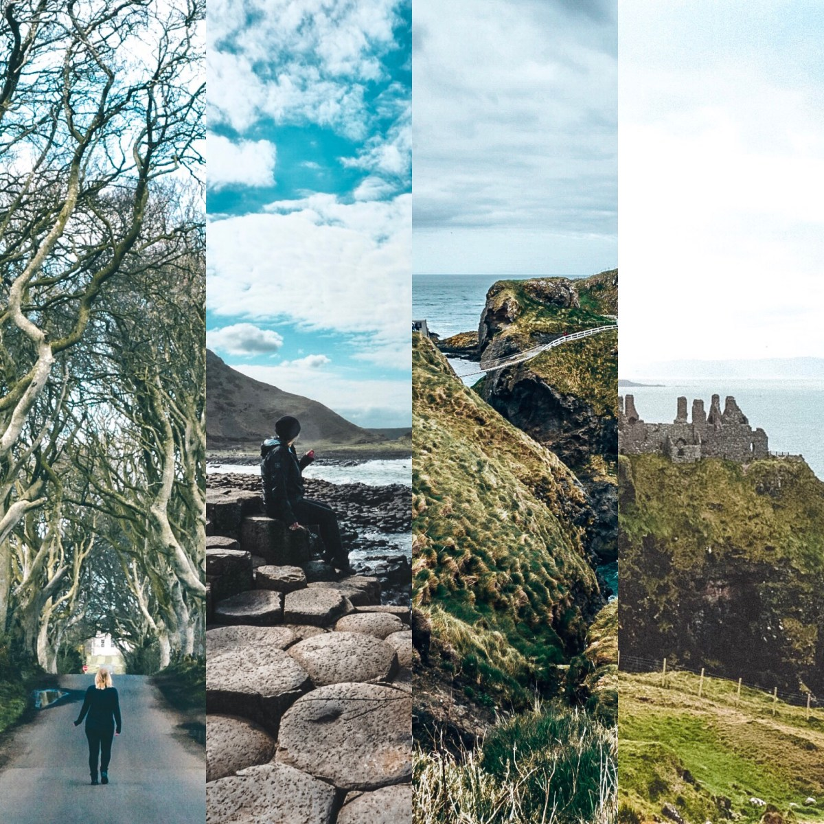 Split frame of 4 places to see in Northern Ireland