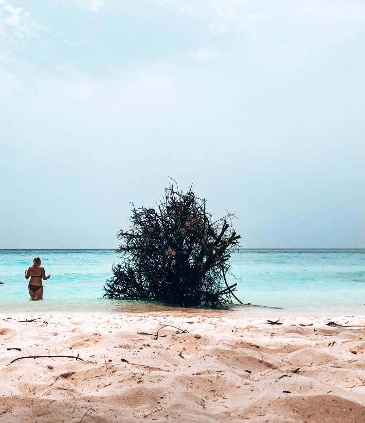 Woman in the beach at Bamboo Island