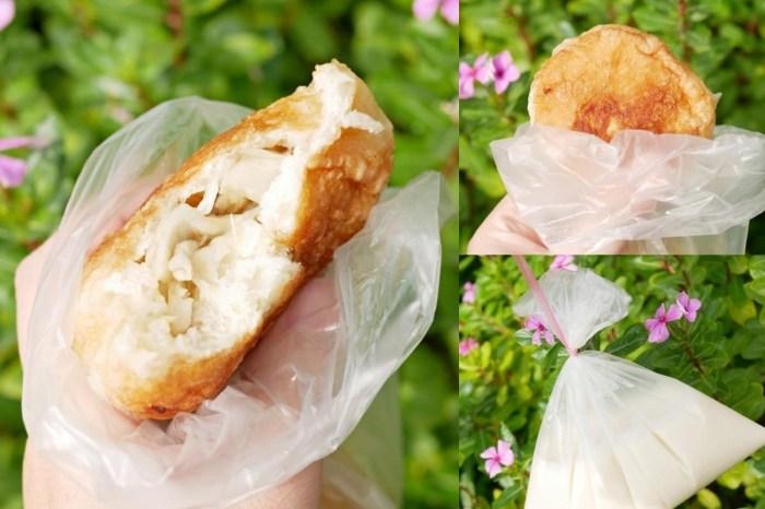 半炸到整顆金黃酥脆的素食水煎包『大灣廣護宮前水煎包』人氣台南銅板美食吃起來!台南永康區|台南早餐