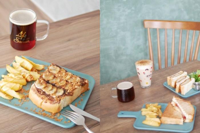 台南早午餐『愛開玩笑的人台南店』幸福感滿滿的香蕉可可厚吐司吃起來!虎尾寮|台南東區|台南美食