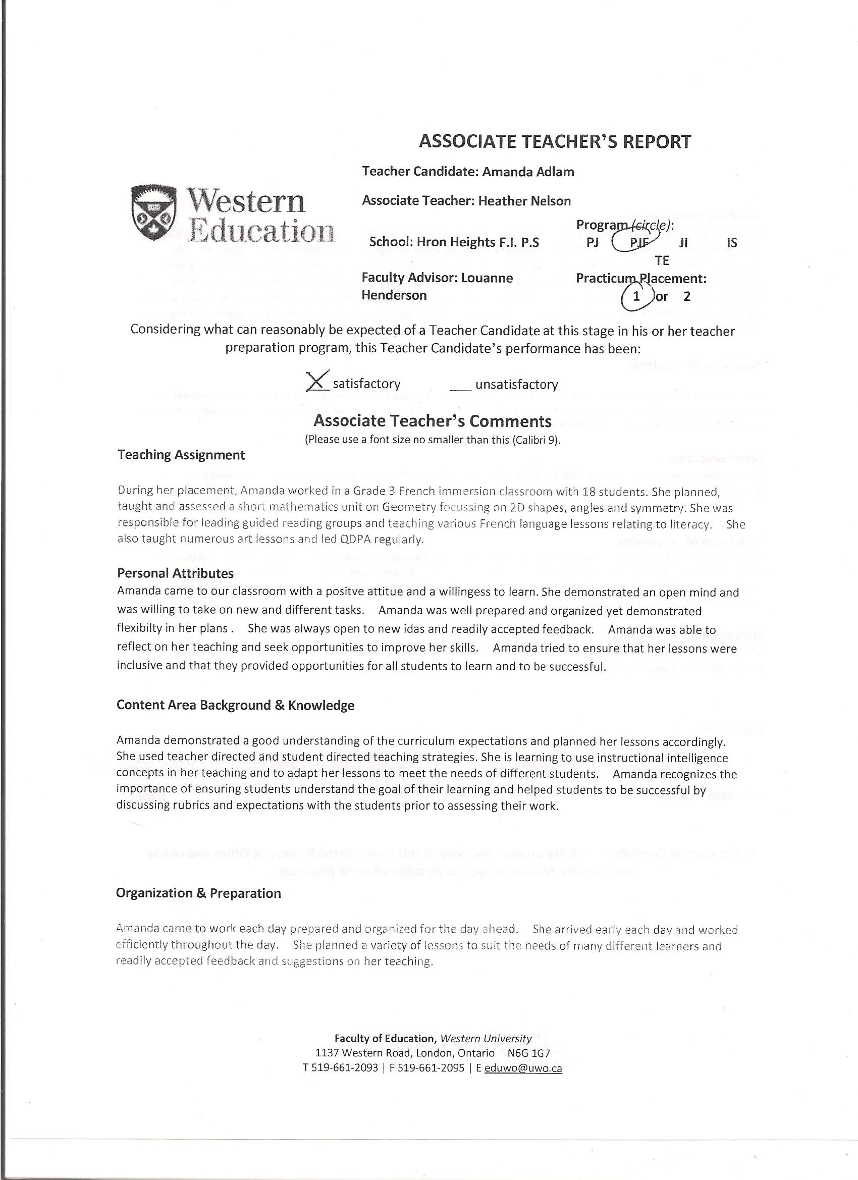Ontario Teacher Resume Sample Associate Teacher Comments Amanda Adlam