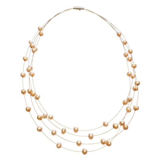 Amanda Blu Illusion Pearl Necklace on Gold Wire - Goldenrod