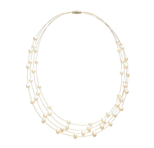 Amanda Blu Illusion Pearl Necklace on Gold Wire - Natural White