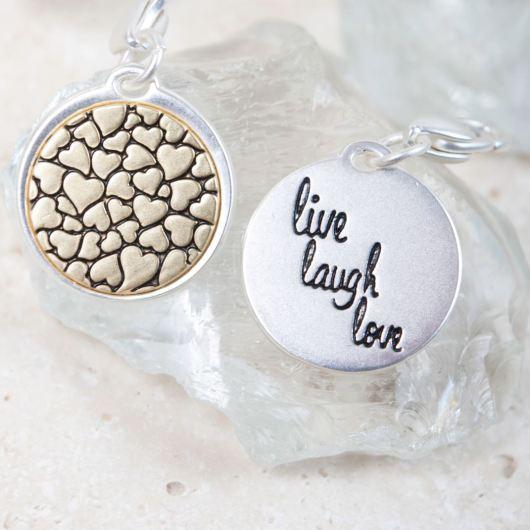 "Silver 2-Tone Medallion - Hearts ""A Full Life"""