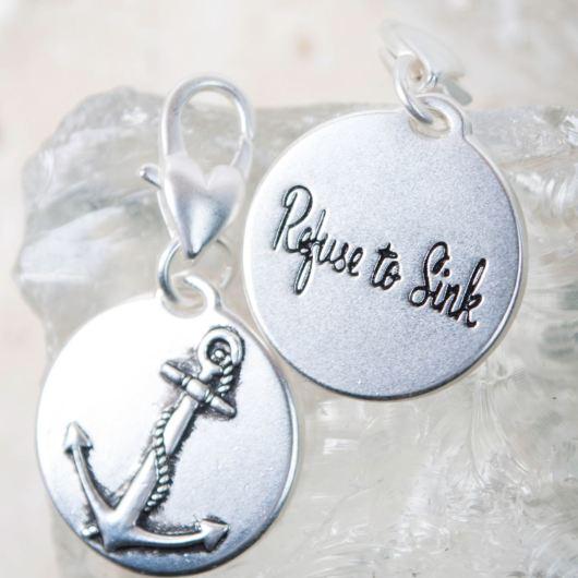 "Silver 1-Tone Medallion - Anchor ""Be Strong"""