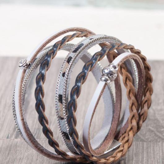 Leather Wrap Bracelet - Gray