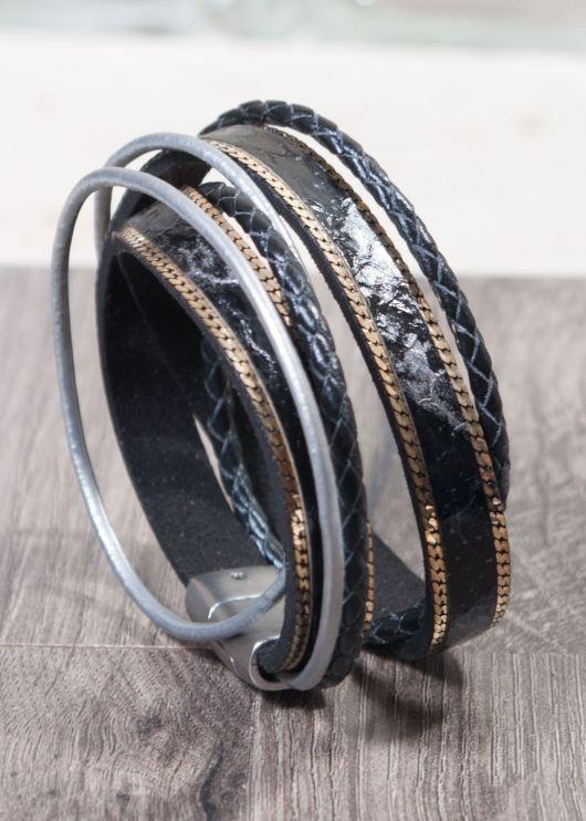 Leather Wrap Bracelet - Black