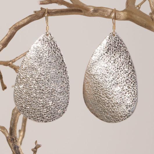 Leather Teardrop Earring - Gold