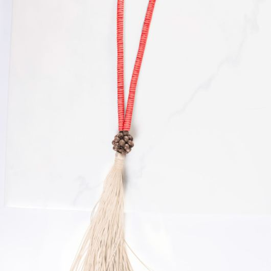 Wood Tassel Necklace - Coral