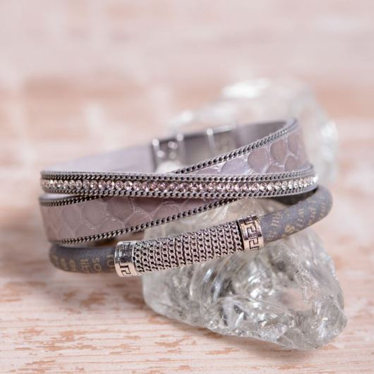 Leather Cuff Bracelet - Gray Bling