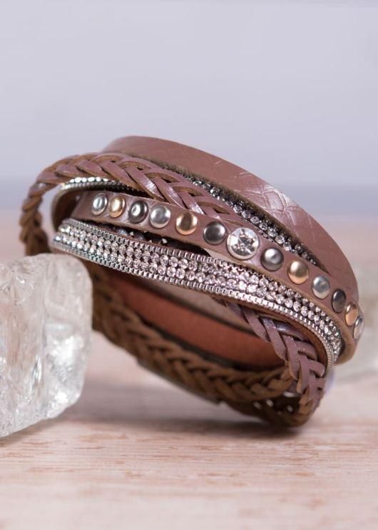 Leather Wrap Bracelet - Brown Stud