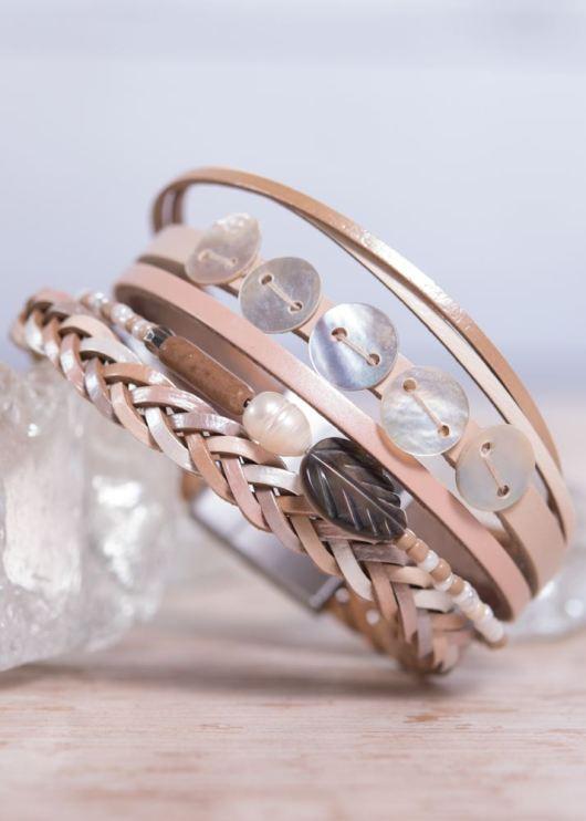 Leather Cuff Bracelet - Beige Shell