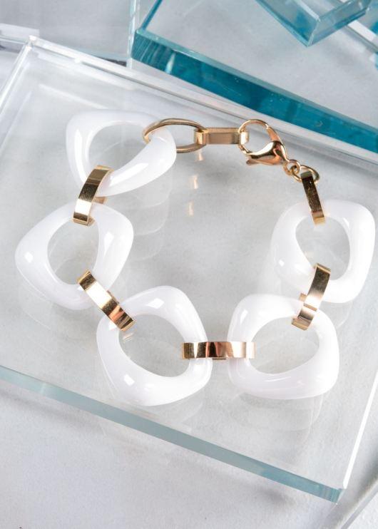 Ceramiqué White/Gold Bold Bracelet