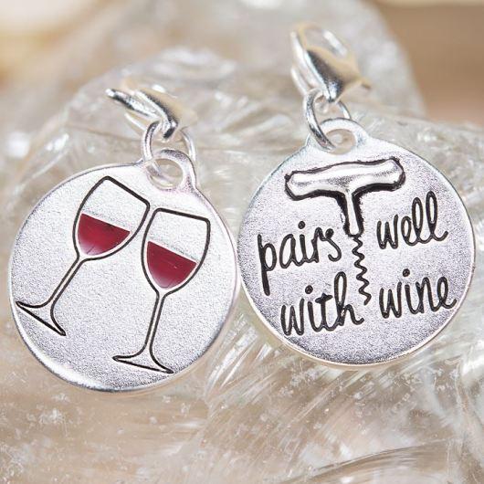 Silver 1-Tone Medallion - Wine Glasses