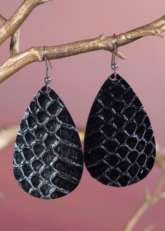 Leather Teardrop Earring - Black Scale