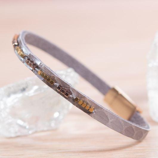 Thin Leather Cuff Bracelet - Gray