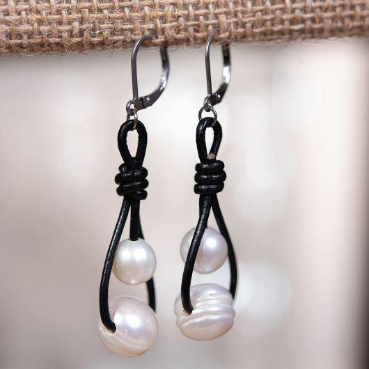 Double Drop Pearl Leather Earring - Black