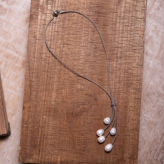 Drop Cluster Pearl Leather Necklace - TAUPE