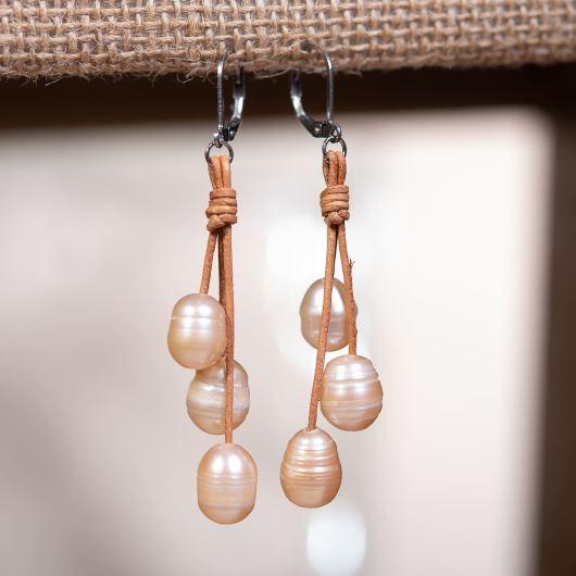 Drop Cluster Pearl Leather Earrings - COFFEE