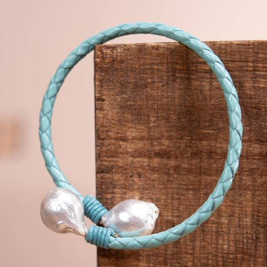 Baroque Pearl Spiral Leather Bracelet - Turquoise