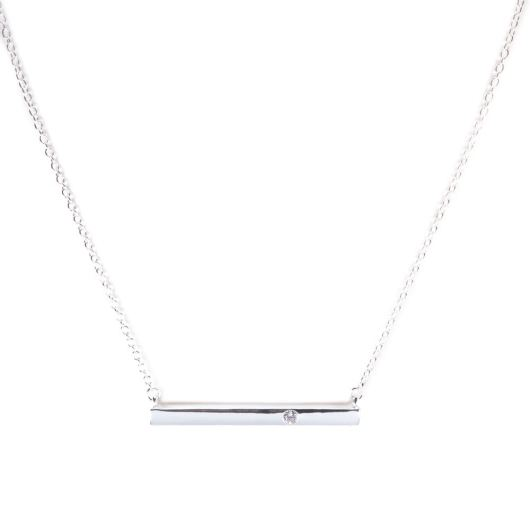 Bar Necklace with Single CZ - Silver