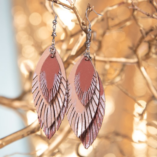 Three Leaf Leather Earrings- Canyon