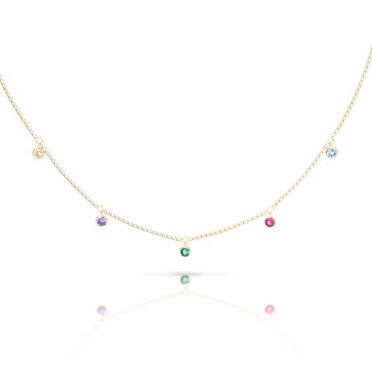 Droplet MultiColor Necklace - Gold