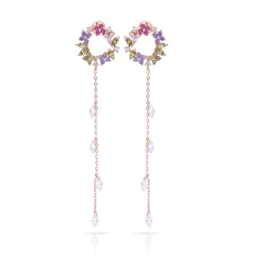 Colorful Drop Long Earrings - Rosegold Pink/Lilac