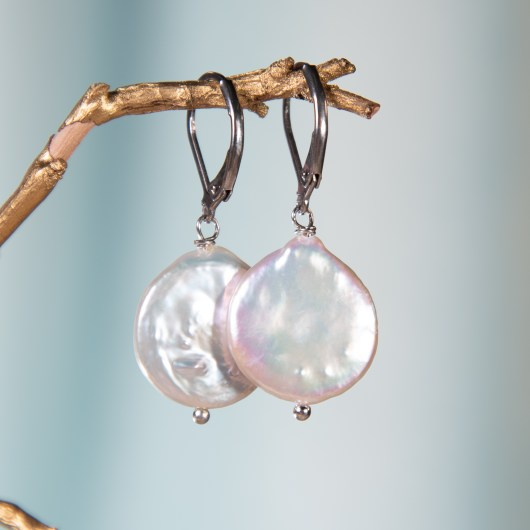 Back Coin Pearl Earrings - Natural White Lever