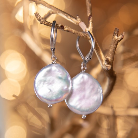 Back Coin Pearl Earrings - Silver Lever