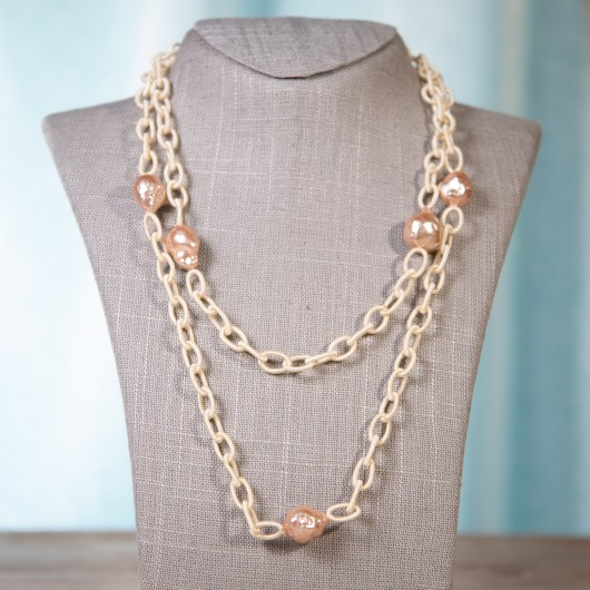 Wrapped Chain Baroque Pearl Necklace - Champagne