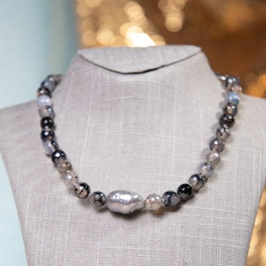 Baroque Pearl & Agate Necklace - Black