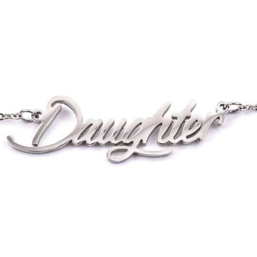 Stainless Steel Word Necklace - Daughter