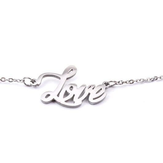 Stainless Steel Word Necklace - Love