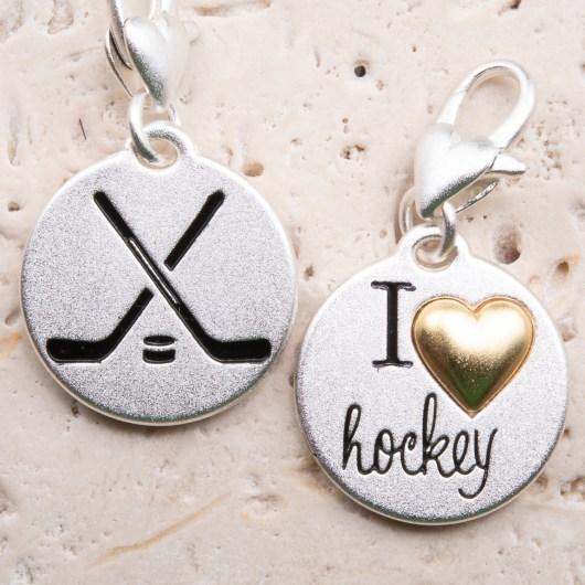 Silver 2-Tone Medallion - Hockey Sticks