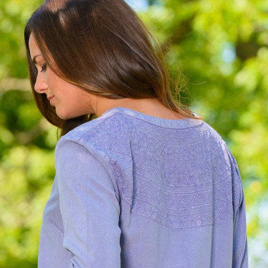 Embroidered Back Tunic 2X - Lavender