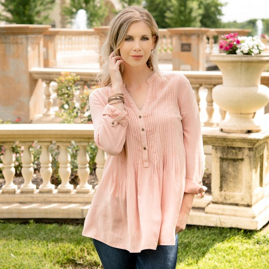 Pleat Front Tunic 2X - Dusty Rose