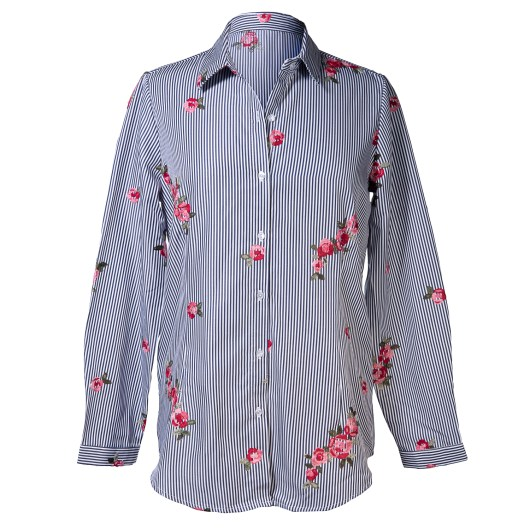 Vertical Stripe Shirt with Roses Embroidery - Navy Pink Size 2X-Large