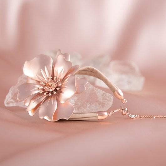 Statement Flower Pull-Cord Bracelet - Rosegold