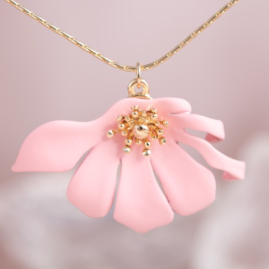 Half Flower Necklace - Blush